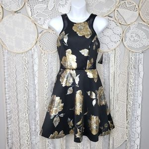 City Triangles Black Metallic Floral Skater Dress